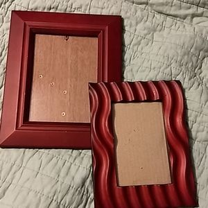 Pair of red wood frames